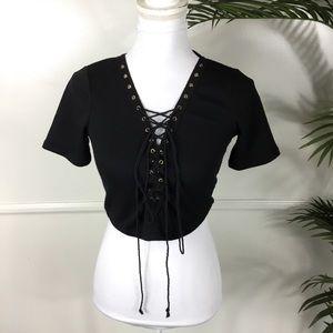 Fashion Nova Black Lace Up Crop Top Juniors Large